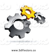 Vector Clipart of 3d Silver and Yellow Gears by beboy.