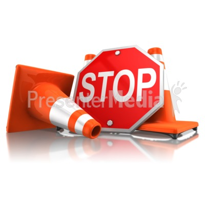 Stop Sign With Traffic Cones.