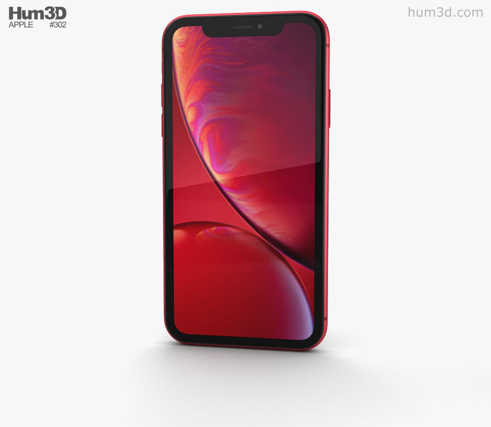 Apple iPhone XR Red 3D model.