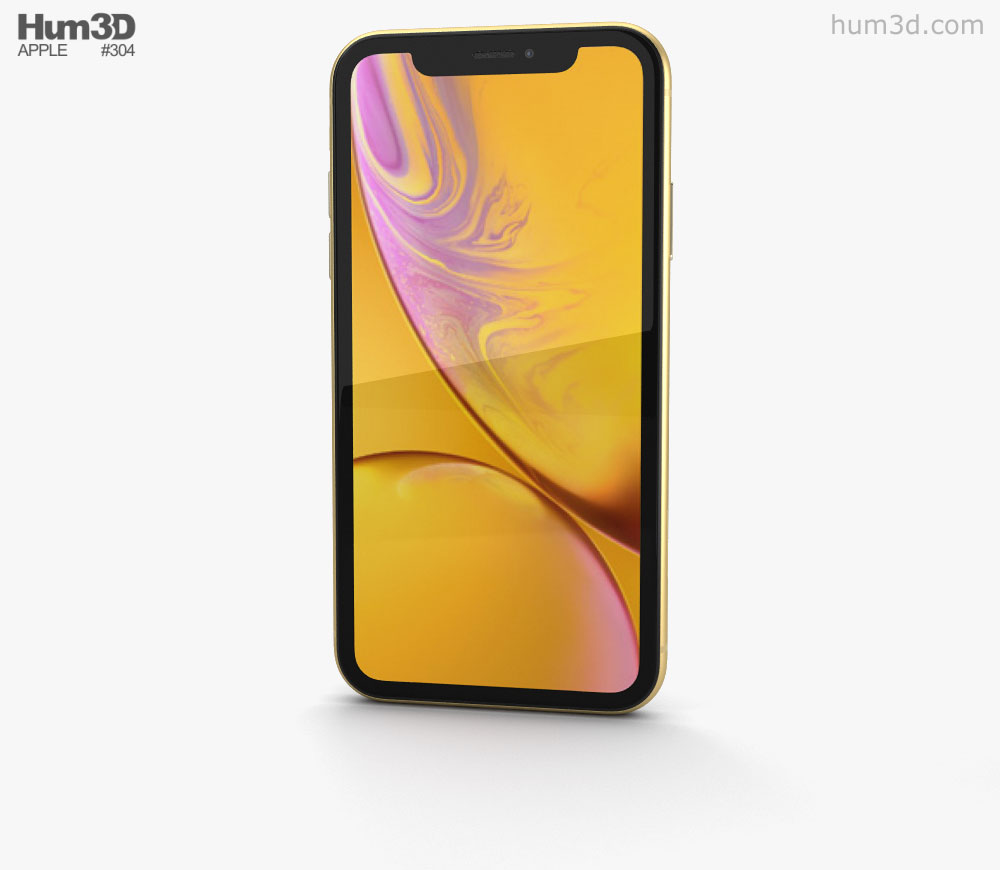 Apple iPhone XR Yellow 3D model.