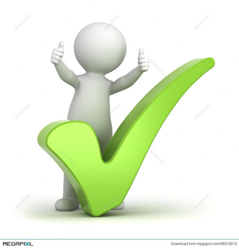 3D Man Showing Thumbs Up With Green Check Mark Illustration.
