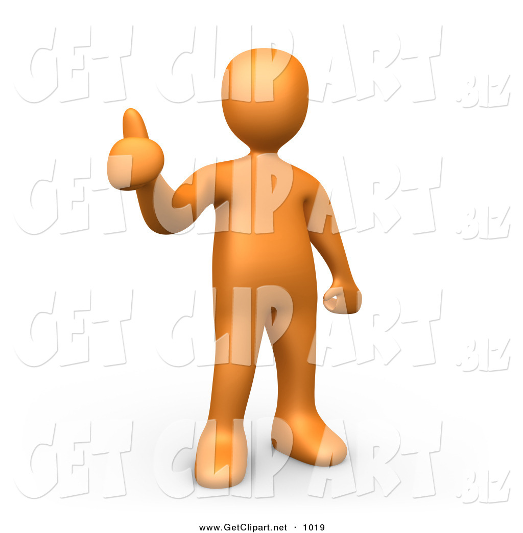 3d Clip Art of an Orange Man Giving the Thumbs up by 3poD.
