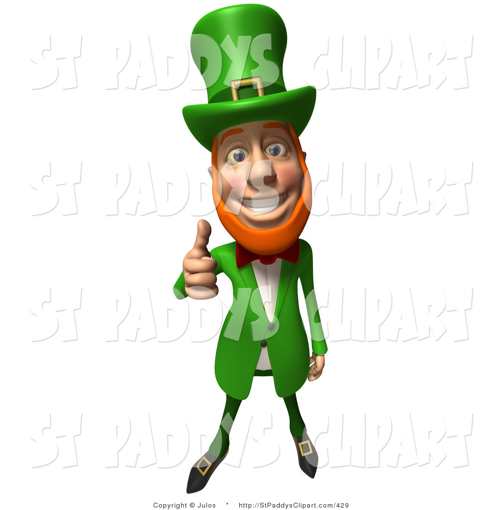 Vector Clip Art of a Friendly 3d Irish Leprechaun Man.