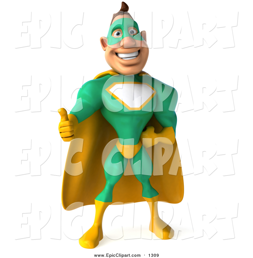 Clip Art of a 3d Thumbs up White Super Hero Man in a Green.
