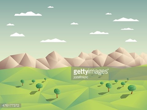 Low polygonal landscape concept illustration with mountains.