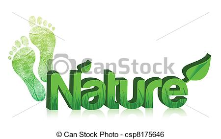 Clip Art Vector of 3d nature text and feet illustration design on.