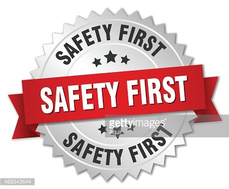 safety first 3d silver badge with red ribbon Clipart Image.
