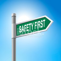 3d Road Sign Saying Safety First Stock Vector.