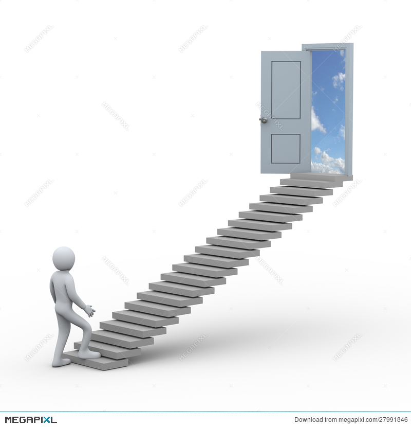 3D Person And Stairway To Open Door Illustration 27991846.