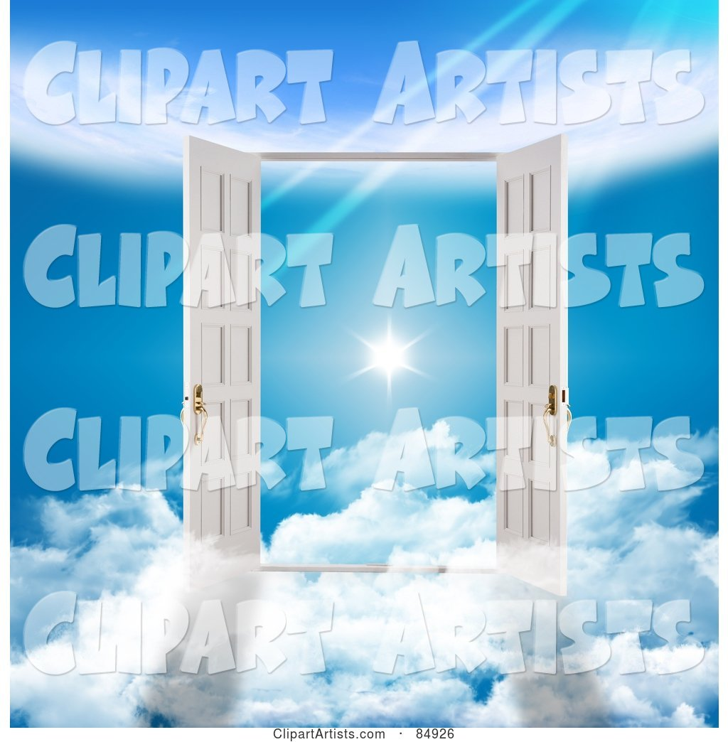 Two 3d French Doors On Clouds, Opening To A Flare In The.