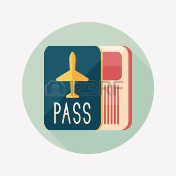 immigration people: Passport icon, flat icon with long.