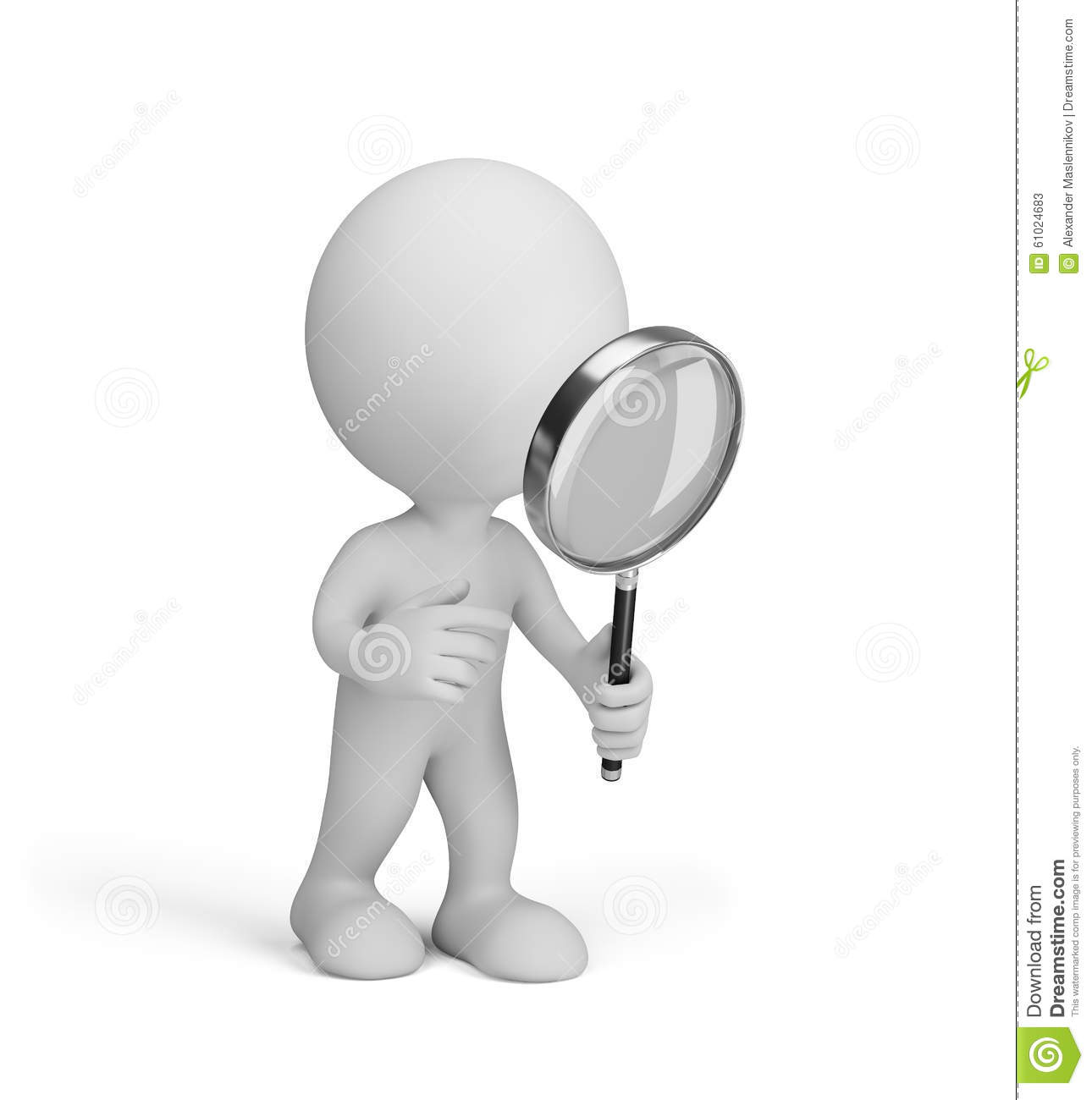 3d Man With Magnifying Glass Stock Illustration.