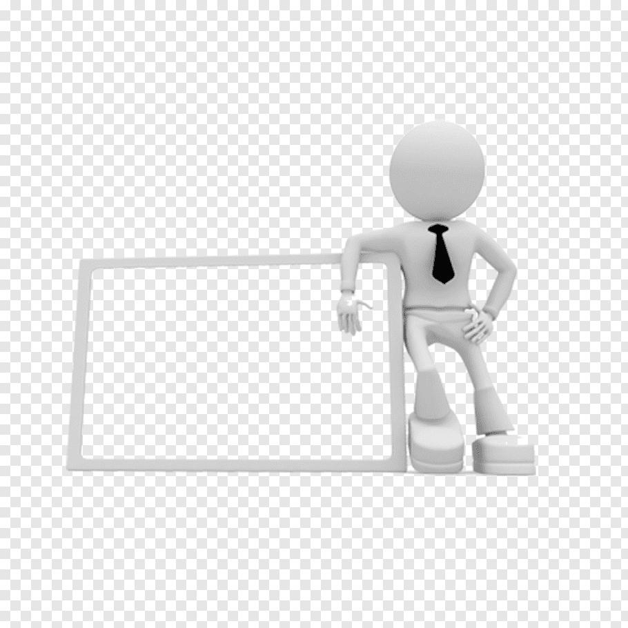Person with black necktie beside white border art, 3D.