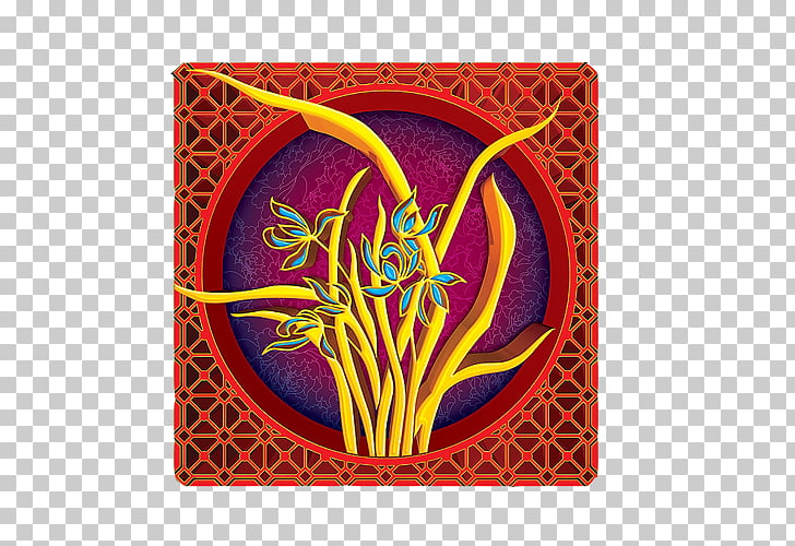 Relief Illustration, 3D relief orchid bloom Ornament PNG.