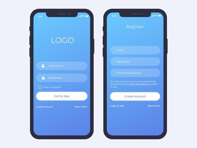 Mobile Login and Register Screen.