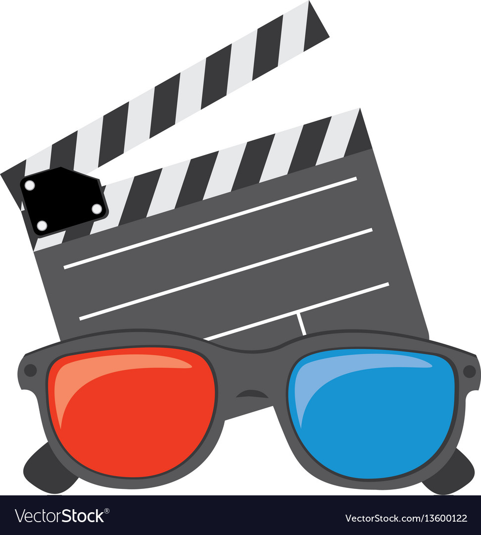 Color clipart and 3d glasses icon.
