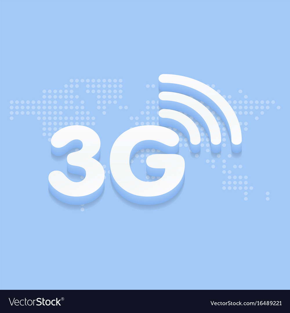 3g fast internet 3d sign in blue background and.