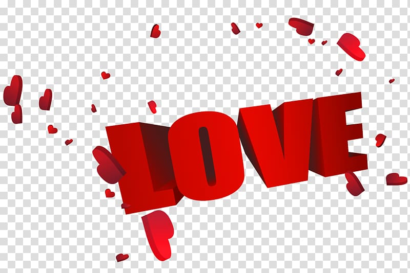 Love , Big Red 3D Love with Hearts, love text transparent.
