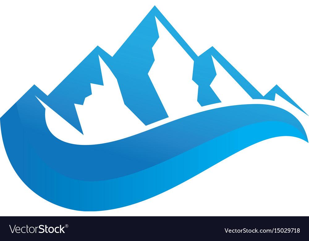 Mountain 3d wave logo image.