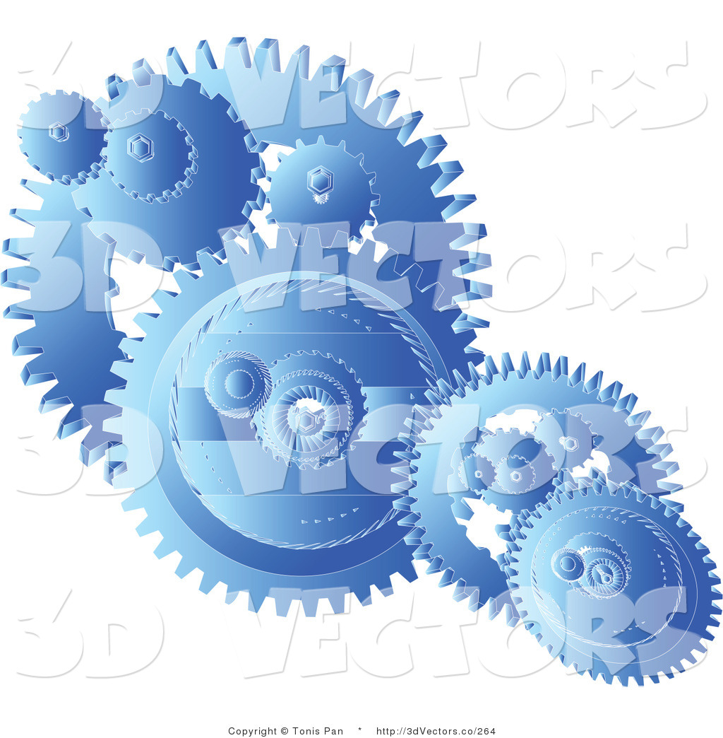 3d Vector Clipart of Blue Gears Cogs by Tonis Pan.