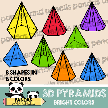 3D Shapes Clip Art: Pyramids Bright Colors, JPEG & PNG, Math Geometry Clip  Art.