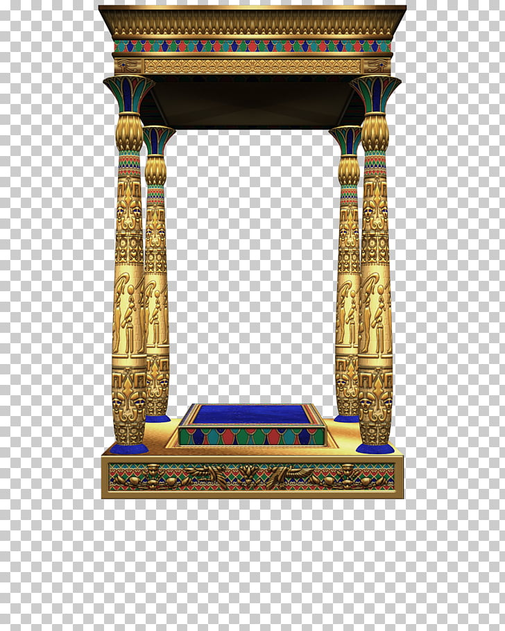 Ancient Egypt , 3D Egyptian architecture, gold poojah altar.