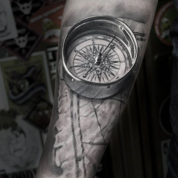 Realistic 3D Compass & Map on Guys Forearm.