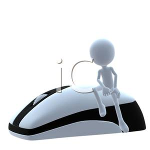 A 3d Man Sitting on a Computer Mouse.