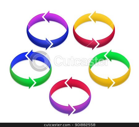 Colorful 3D Arrows in Circles stock vector.
