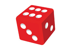 Red dice 3d free vector clipart.