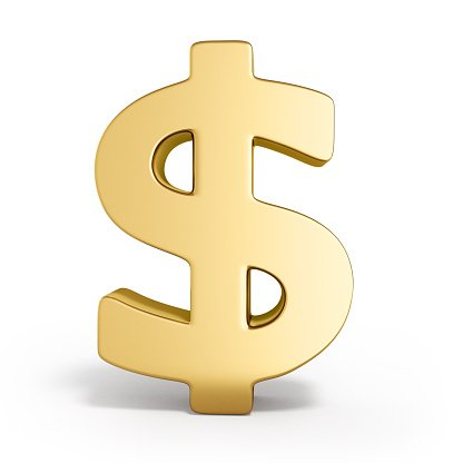 Golden dollar sign 3d render on white Clipart Image.