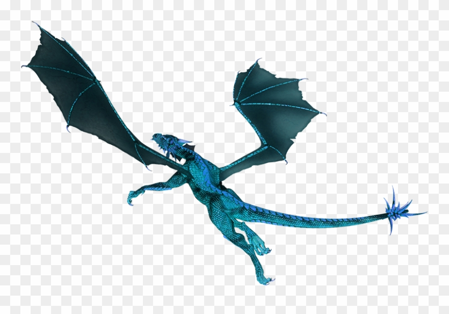 Blue Flying Dragon Clipart.