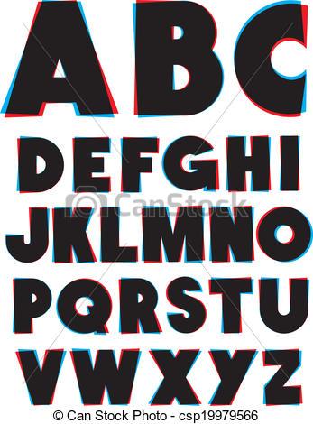 Clip Art Vector of 3d glasses effect alphabet font type. Vector.