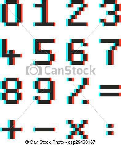 Clip Art Vektor von mathematisch, effekt, anaglyph, Zahlen.