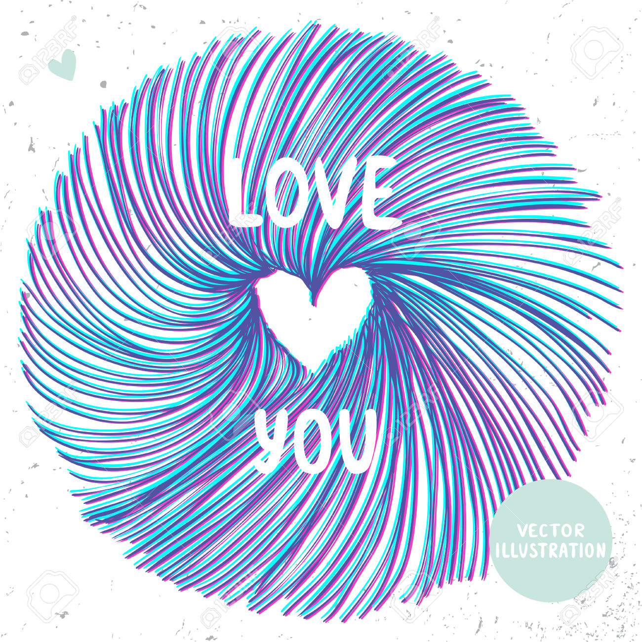 3d Effect Stylish Circle Of Lines With Heart Inside. Royalty Free.
