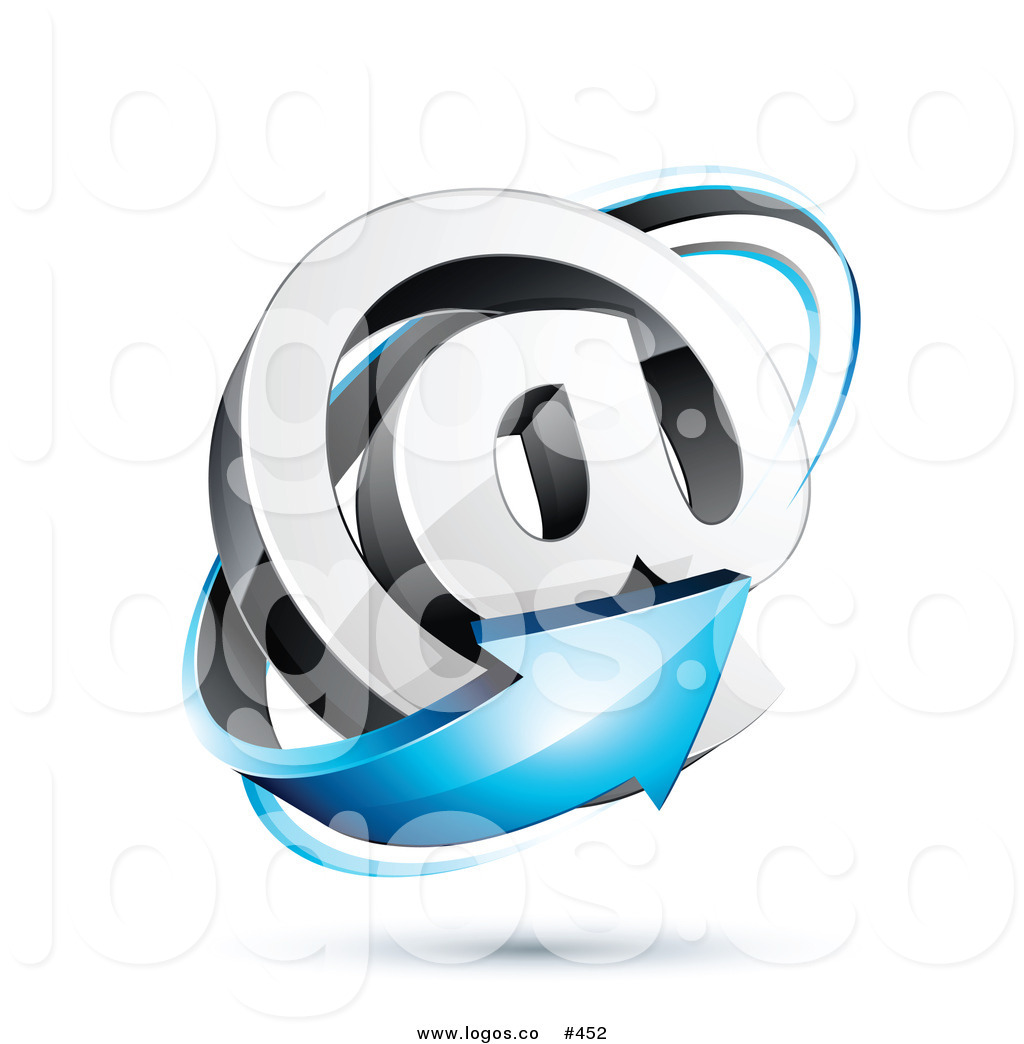 Royalty Free Vector Logo Icon of a 3d Blue Arrow Circling a.