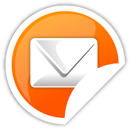 Mail, orange icon.
