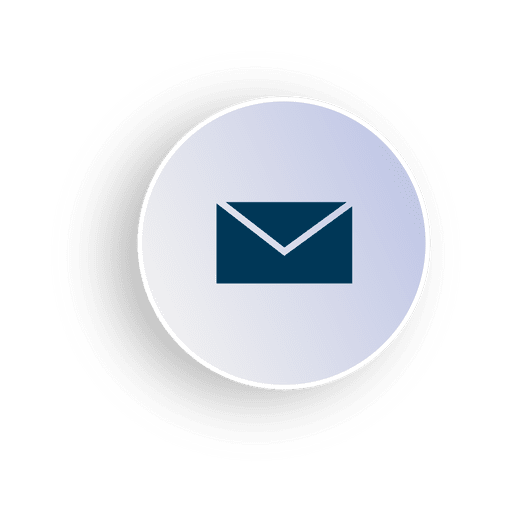 Email circle icon in 3D.