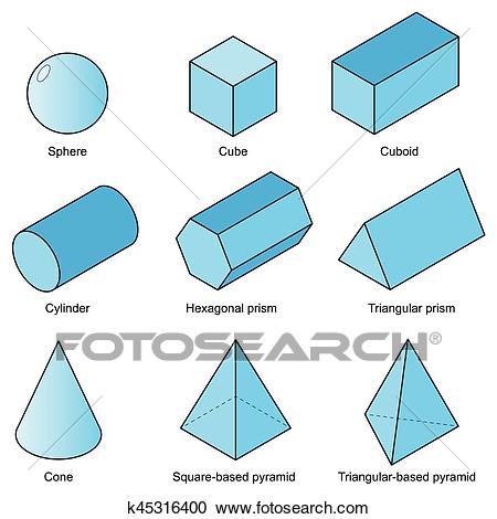 3d shape set isolated on white background vector. illustration eps10 Clipart.
