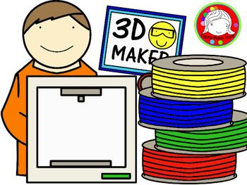 3D Printing Kids Clipart (Personal & Commercial Use).