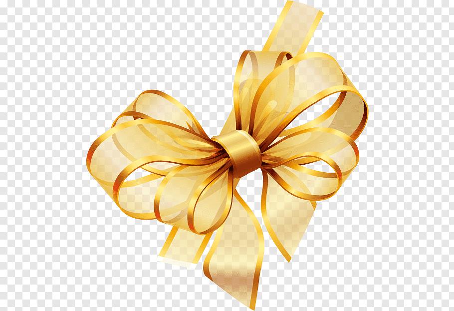 Gold, Ribbon, yellow ribbon illustration free png.