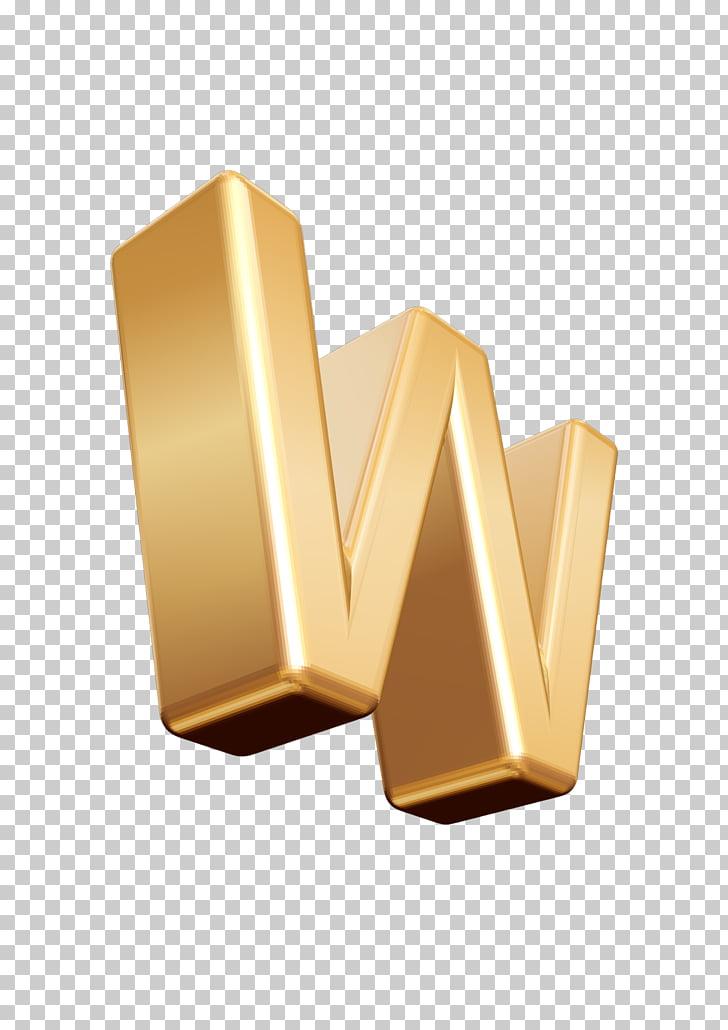 Letter W Font, 3D letter W PNG clipart.