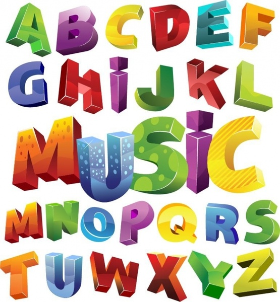 Colorful 3D Alphabet Vector Graphic Free vector in.