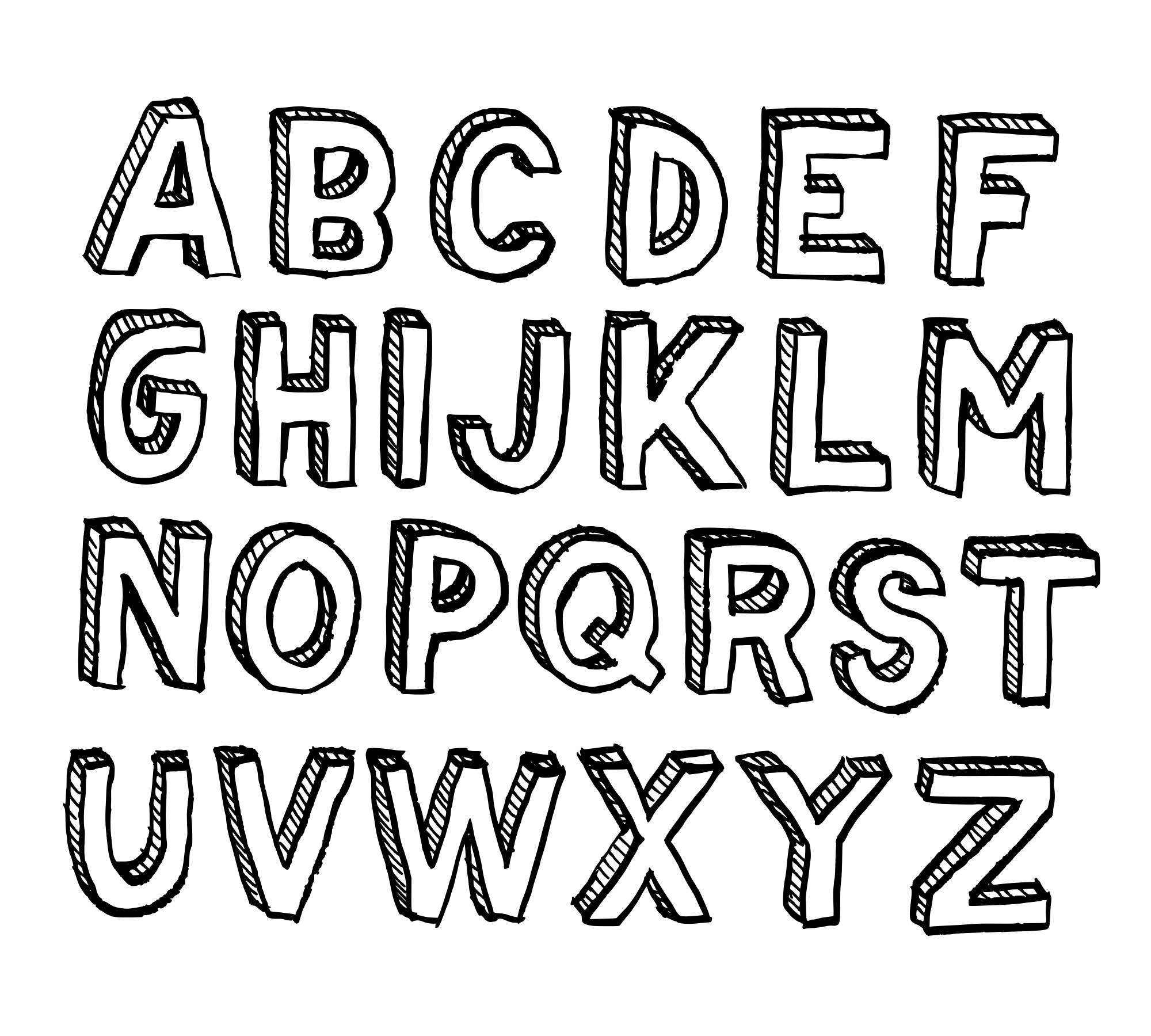 Hand Drawn 3D Alphabet (PNG Transparent).