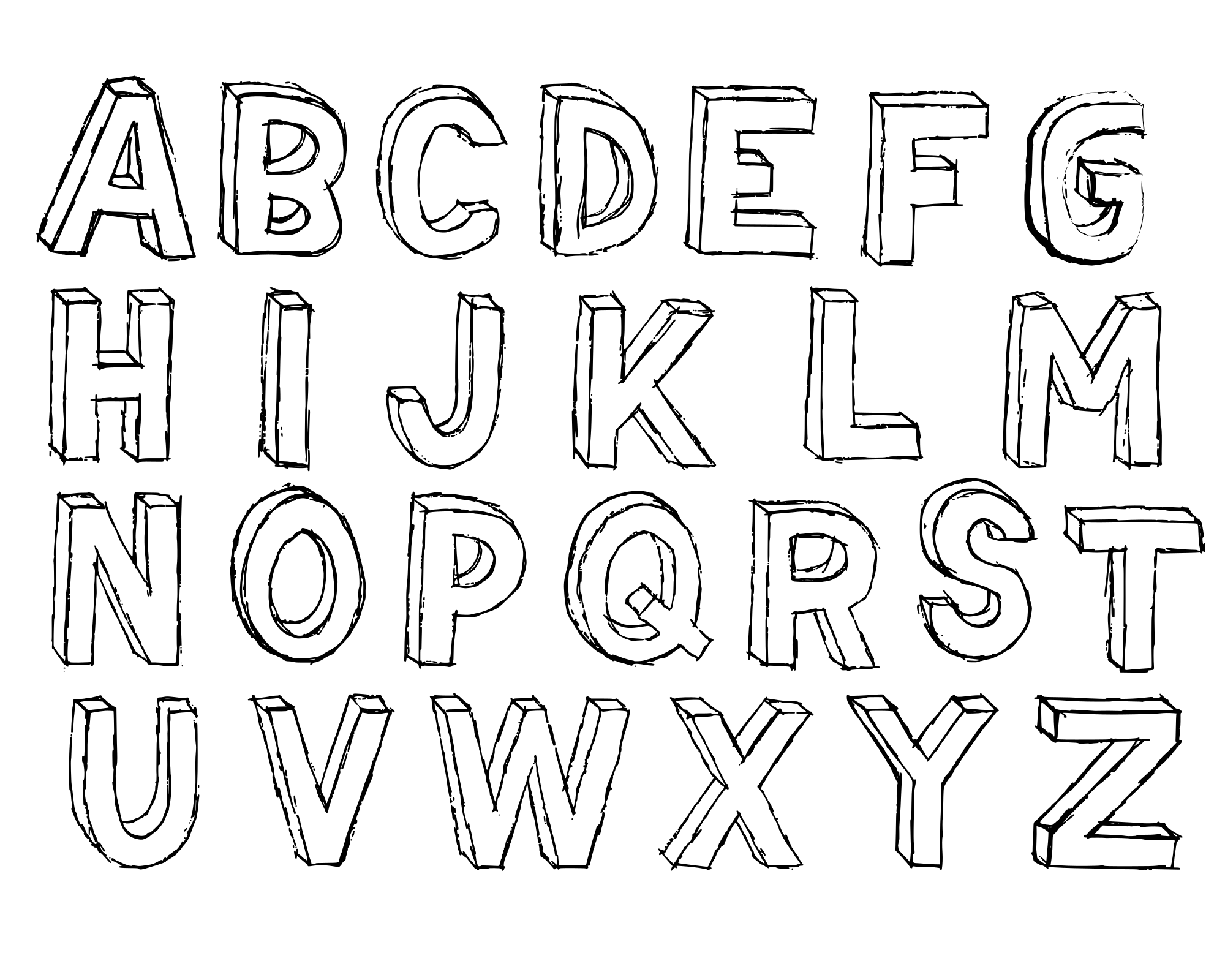 Hand Drawn Sketch 3D Alphabet (PNG Transparent).
