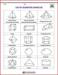 shapes clipart list of geometric shapes 3d bw.