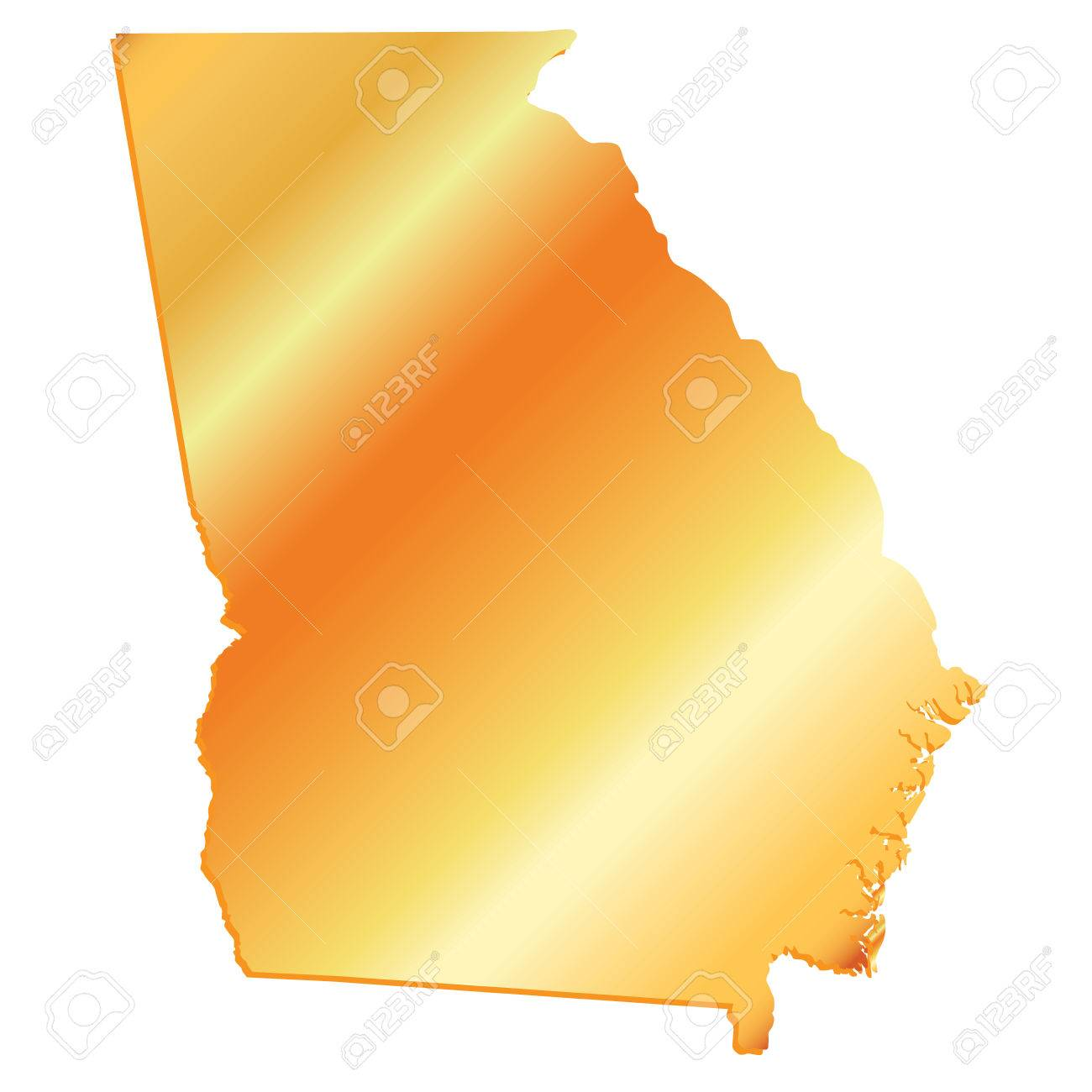3D Georgia (USA) Gold outline map with shadow.