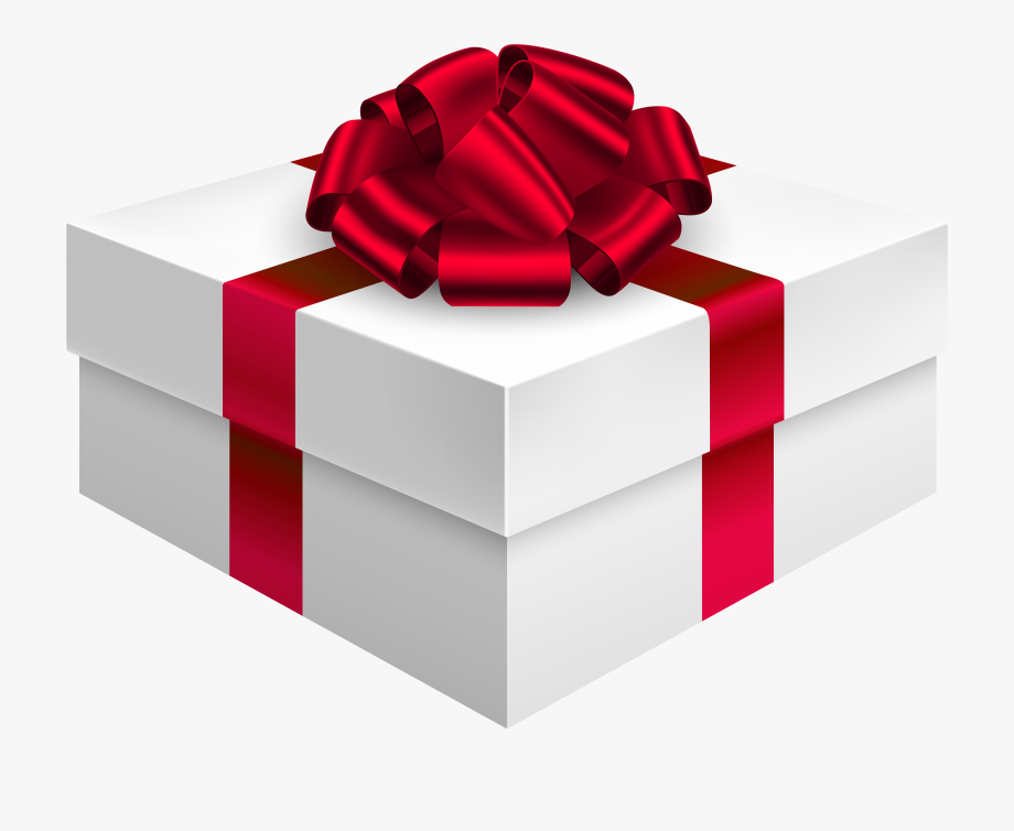 Gift Box With Bow In Red Png Clipart.