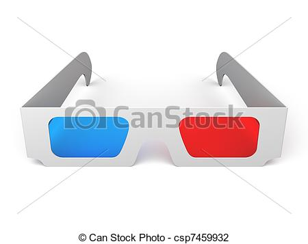 Clip Art of 3D Glasses.