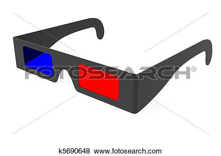 Stock Illustration of Anaglyph 3D glasses isolated on white.
